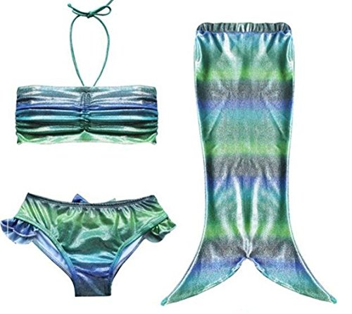[Little Girl Three Pieces Mermaid Tail Swimmable Costume Swimsuit Long Princess Dress (4T, sparkle] (Cute Kiddie Costumes)