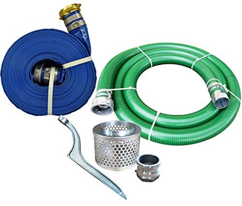 "JGB Enterprises Eagle Hose PVC/Aluminum Water/Trash Pump Hose Kit, 4"" Green Suction Hose Coupled C x KCN, 4"" Blue Discharge Hose Coupled M x F WS, 29 Vacuum Rating, 70 PSI Maximum Temperature, 50"