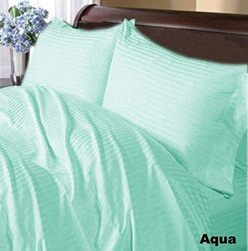 H&H Decor 6 Pcs Sheet Set 100% Egyptian Cotton Stripe Pattern 800 TC 8-11 Inch Deep Pocket Size KING Color Aqua Blue