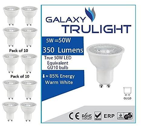 Paquet de 10 - 5W GU10 ampoule Spot LED (50W équivalent) - Galaxy Trulight - Blanc chaud