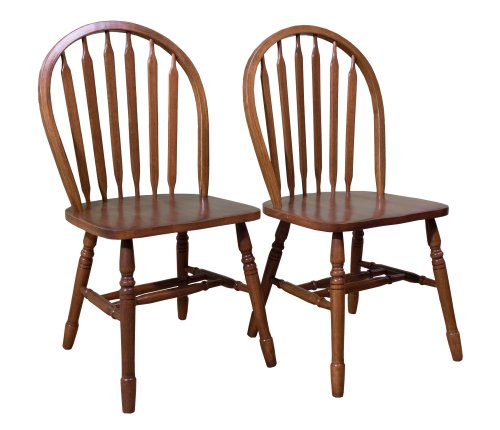 TMS Arrowback Chair (Set of 2), Oak - Classic style Constructed of rubber wood Wooden seat and arrow back - kitchen-dining-room-furniture, kitchen-dining-room, kitchen-dining-room-chairs - 510uIUXzZIL -