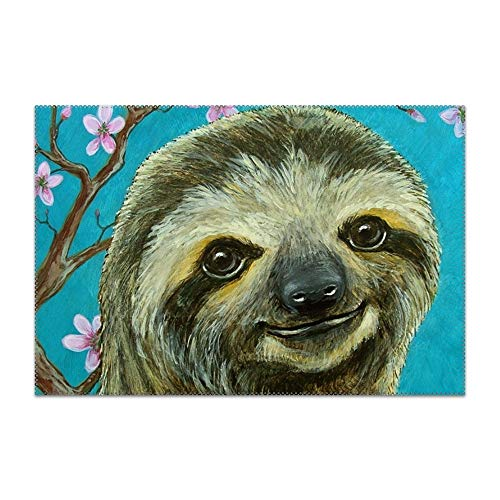 jiajufushi Placemats, Sloth and Cherry Blossoms Table Mats,Placemat Non-Slip Washable Place Mats,Heat Resistant Kitchen Tablemats for Dining ()