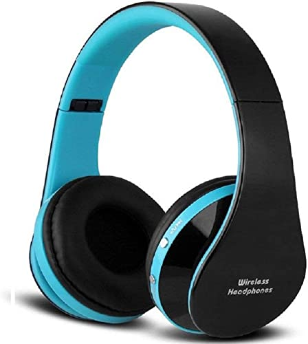 Wireless Foldable Headphones, Bluetooth Over-Ear Stereo Earbuds Wired Headsets with Built-in Microphone with 3.5mm Jack by Mikicat Black Blue