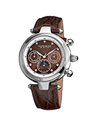 Akribos XXIV Men's AKR441BR Diamond Accented with Mother-of-Pearl Dial Automatic with Brown Leather Strap Watch