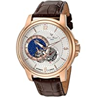 Lucien Piccard Men's 'Nebula' Stainless Steel and Leather Automatic Watch, Color Brown (Model: LP-15156-RG-02S-BRW)