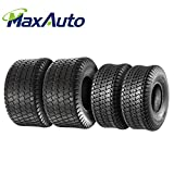 Set of 4 Lawn Mower Turf Tires 15x6-6 Front & 18x9.5-8 Rear Tractor Riding, 4PR, Tubeless