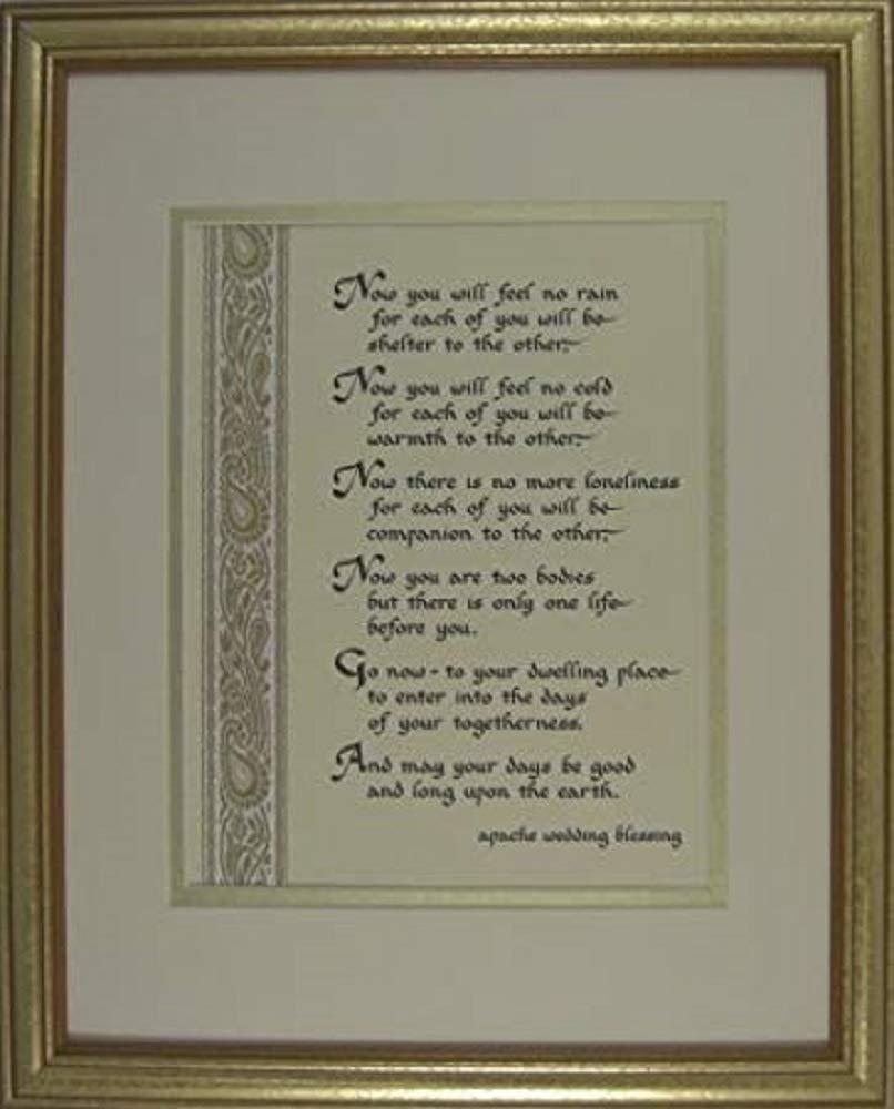 McDarlins Calligraphy 11x14 Apache Wedding Blessing Marriage Double Matted Wall Decor Picture Print Inspirational Newlywed Keepsake Gift in a Gold Frame