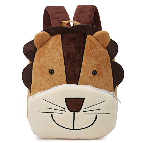 Cute Small Toddler Backpack for Girl Boy Kids Plush 3D Animal Cartoon Mini Preschool Bag for Children Age 1-5 Years Old (Brown Lion) by Genold