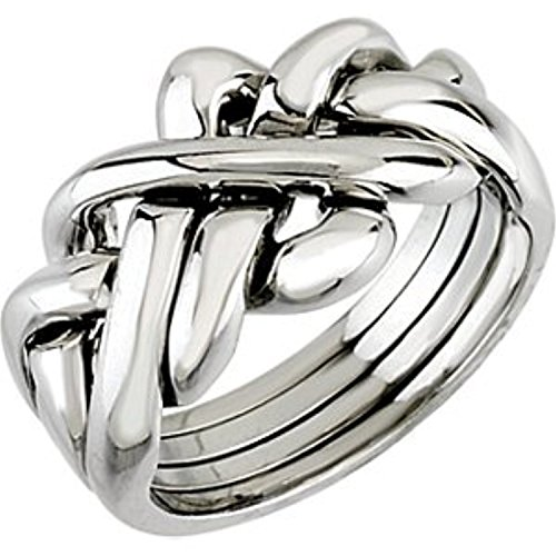 14k White Gold Puzzle Ring (14K White Gold Puzzle Ring, Size: 10)