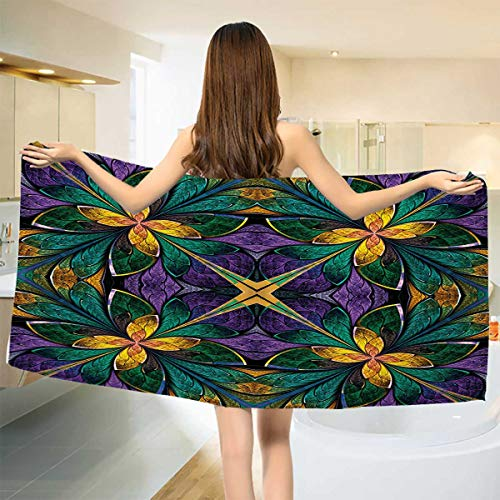 (Chaneyhouse Fractal,Bath Towel,Antique Ornate Symmetric Stained Glass Mosaic Window Style Floral Tile Pattern,Customized Bath Towels,Green Purple Size: W 19.5