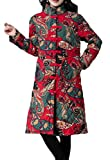 Spirio Women Buttons Linen Stand Collar Casual Ethnic Print Long Jacket Coat Red M