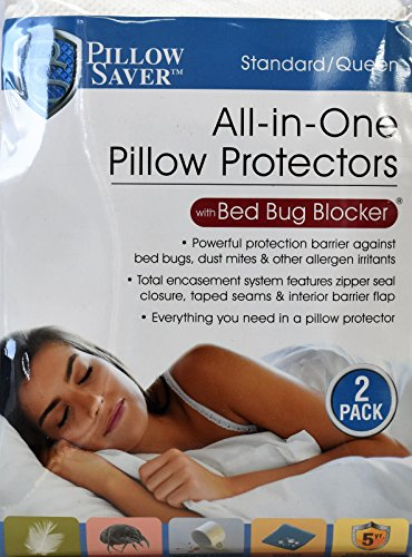 Pillow Saver - All-in-One Pillow Protectors with Bed Bug Blocker - White, Standard/Queen, Pack of 2