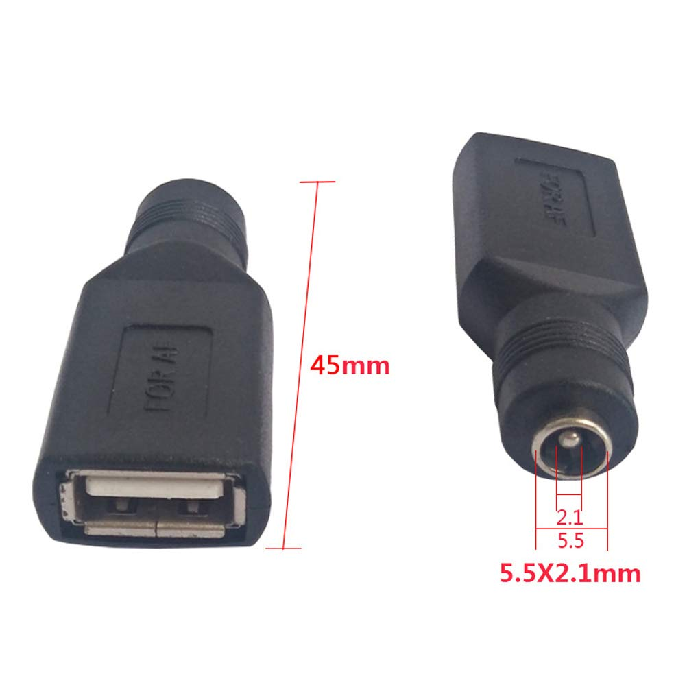 Uonlytech 2Pc USB Hembra a 5,5 mm x 2,1 mm Hembra convertidor de Corriente Continua Cargador Adaptador Adaptador Conectores Negro