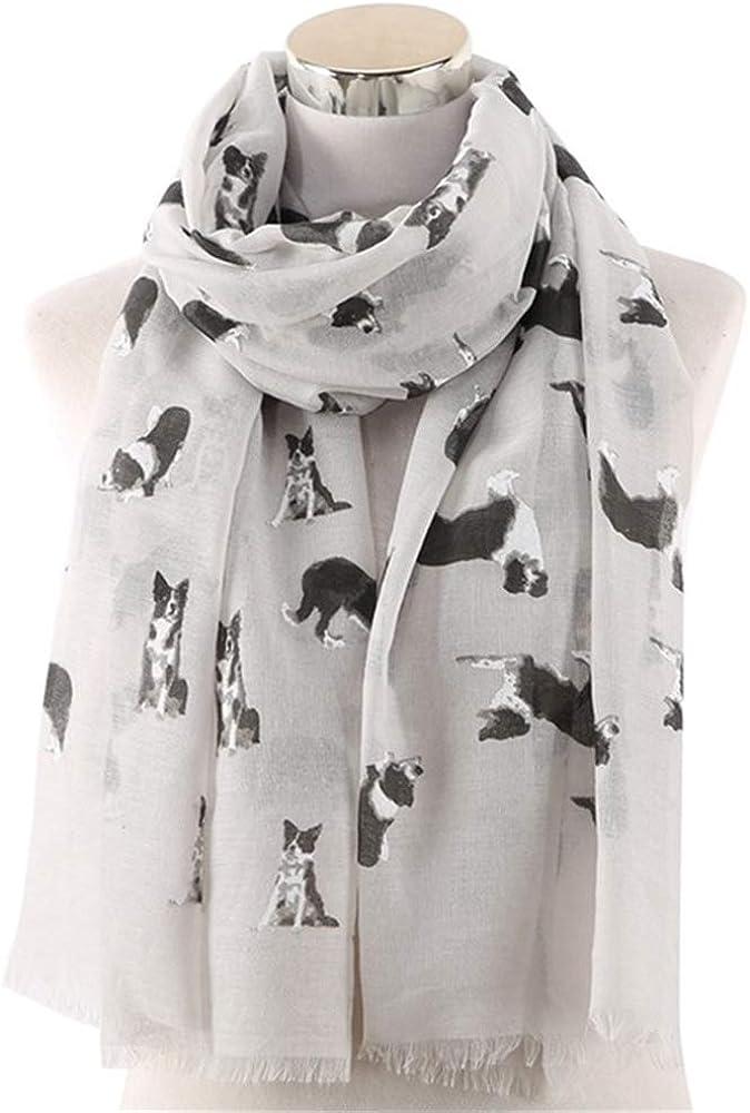 XJJJ Bufanda Bufanda con estampado de collie para mascotas gris-blanco para amantes del perro Bufanda