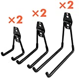 Heavy Duty Garage Storage Utility Hooks for Ladders & Tools, Wall Mount Garage Hanger & Organizer - Tool Holder U Hook with Anti-Slip Coating (6 Pack - Black)