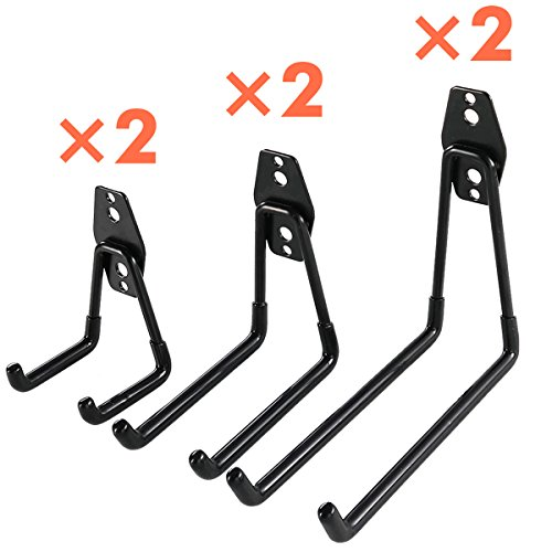 Heavy Duty Garage Storage Utility Hooks for Ladders & Tools, Wall Mount Garage Hanger & Organizer - Tool Holder U Hook with Anti-Slip Coating (6 Pack - Black) by Ihomepark