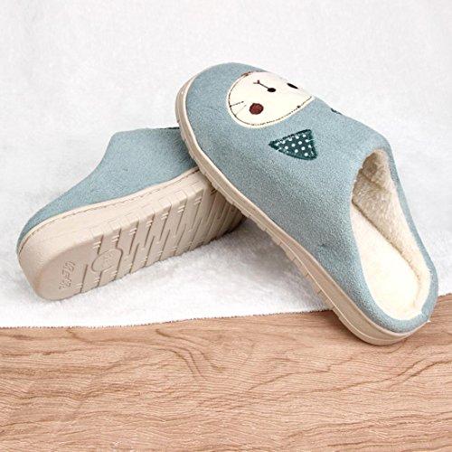 Pantoufles Maison Euone Femmes Doux Chaud Intérieur Couleurs De Bonbons Chat Pantoufles De Coton Maison Anti-dérapant Chaussures Vert Armée