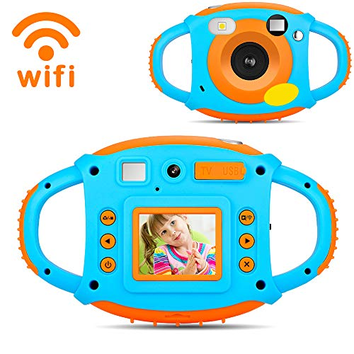 Kids Camera Toys for Boys,Gifts WiFi Rechargeable Shockproof Cute Mini Camera for Girls Anti-Drop Children digital Video Camera with 7 Color Filter Effect