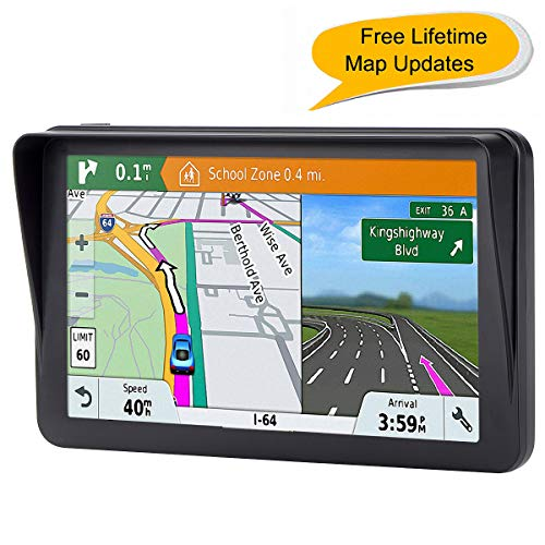 (7-inch GPS for Car, 8GB Free Lifetime Map Update Spoken Turn-to-Turn Navigation System for Cars, Portable Sat-Nav, Vehicle GPS)