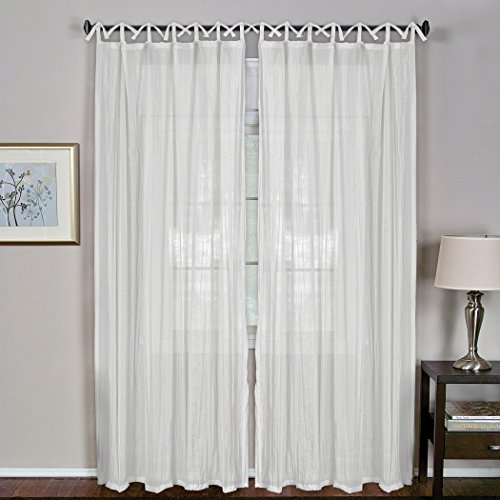 Elrene Home Fashions 026865638820 Juvenile Tween Tab Top Sheer Single Panel Window Curtain Drape, 52″ x 84″, White