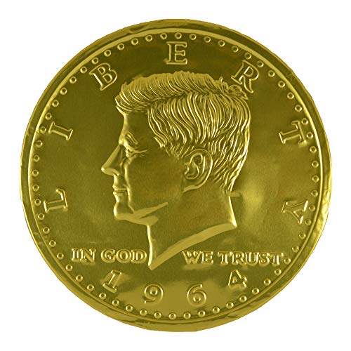 Premium Huge Belgian Milk Chocolate Mega Coin Wrapped with Gold Foil, 16 Oz