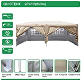 Quictent Silvox Waterproof 20x10 EZ Pop Up Canopy Commercial Gazebo Party Tent Beige Portable Removable Sides