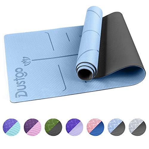 🥇 Dustgo Esterilla Yoga Colchoneta de Yoga Antideslizante con Material ecológico TPE con líneas corporales Yoga Mat diseñado para Entrenamiento y Entrenamiento físico