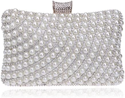 LKJASDHL レディースパールビーズのイブニングクラッチハンドバッグ結婚式の財布レディバッグディナーバッグチェーンスモールスクエアバッグバンケットハンドバッグカジュアルフォーマルな日常のバッグ (色 : Silver)