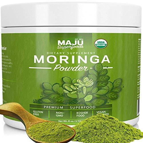 MAJUs Organic Moringa Powder: NON-GMO, Guaranteed Purest, 100% Raw Moringa Oleifera Leaf Powder made with Leaves, Works in Tea