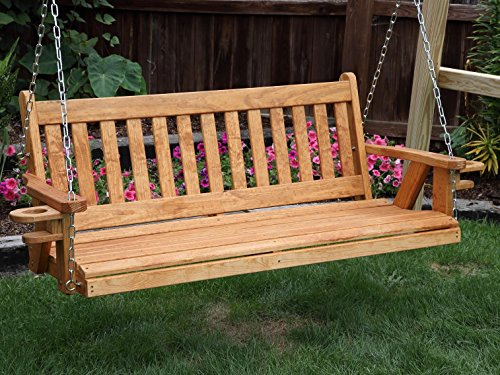 Amish Heavy Duty 800 Lb Mission 5ft. Porch Swing With Cupholders - MADE IN USA (Teak Porch Swing)