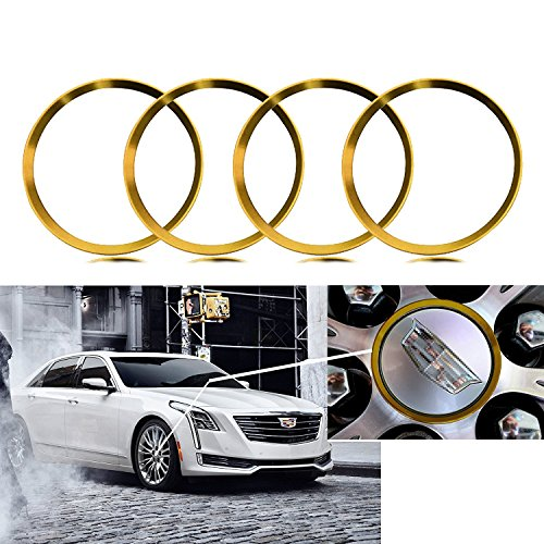 4 Pieces Gold Alloy Car Wheel Rim Center Cap Hub Rings Decoration For Cadillac ATS CT6 CTS Escalade XT5 SRX (Gold Hub)