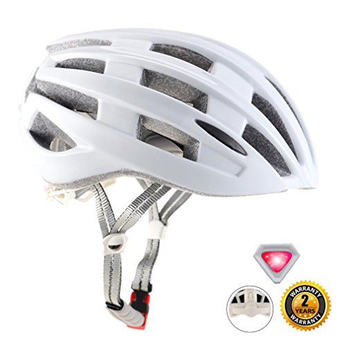 EASECAMP Ultralight Bicycle Helmet with LED Safety Light for Adult Men and Women (White)