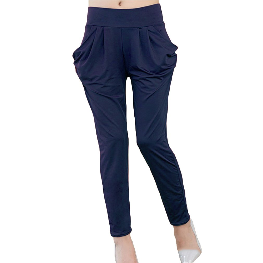 Pantalones Slim-Fit de Mujer Simple Loose Thin Alta Cintura Pantalones 3 Colores (Asian S-8XL)