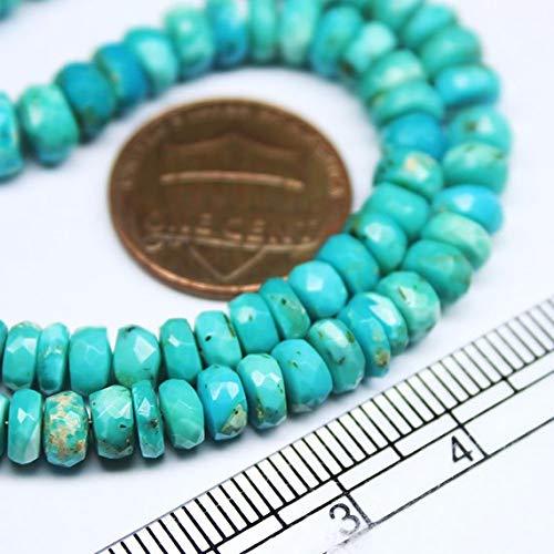 Beads Bazar Natural Beautiful jewellery Sleeping Beauty Arizona Turquoise Faceted Gemstone Rondelle Gemstone Loose Craft Beads Strand 14