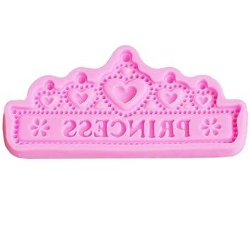Molde de silicona para tartas con corona de princesa para chocolate, gelatina, molde para hornear, azúcar, herramienta de manualidades: Amazon.es: Hogar