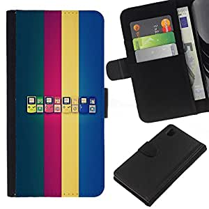 NEECELL GIFT forCITY // Billetera de cuero Caso Cubierta de protección Carcasa / Leather Wallet Case for Sony Xperia Z1 L39 // Generaciones de Game Boy
