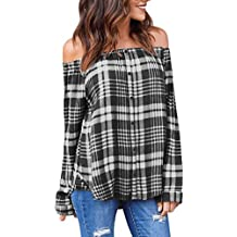 TOPUNDER 2018 Women's Plaid Shirts Sexy Off Shoulder Blouse Long Sleeve Tops Single-Breasted T-Shirt