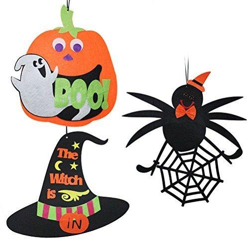 LUOEM 3PCS Halloween Party Favors Pumpkin Hanging Sign Ghost Decoration for Door Window Bar