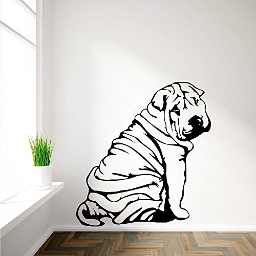 High-Season SHAR-PEI SHARPEI art mural en vinyl Wall Sticker autocollant decalque canine animal a theme Mural Wallpaper Sticker Muraux D429