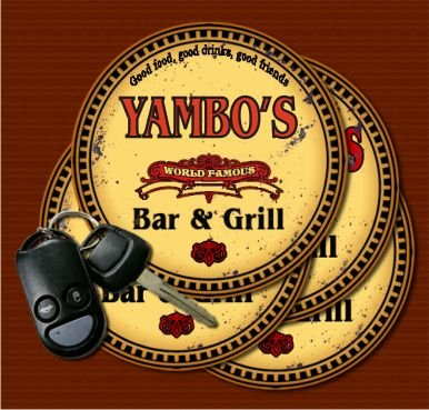 YAMBO'S World Famous Bar & Grill Coasters - Set of 4 from J Edgar Cool