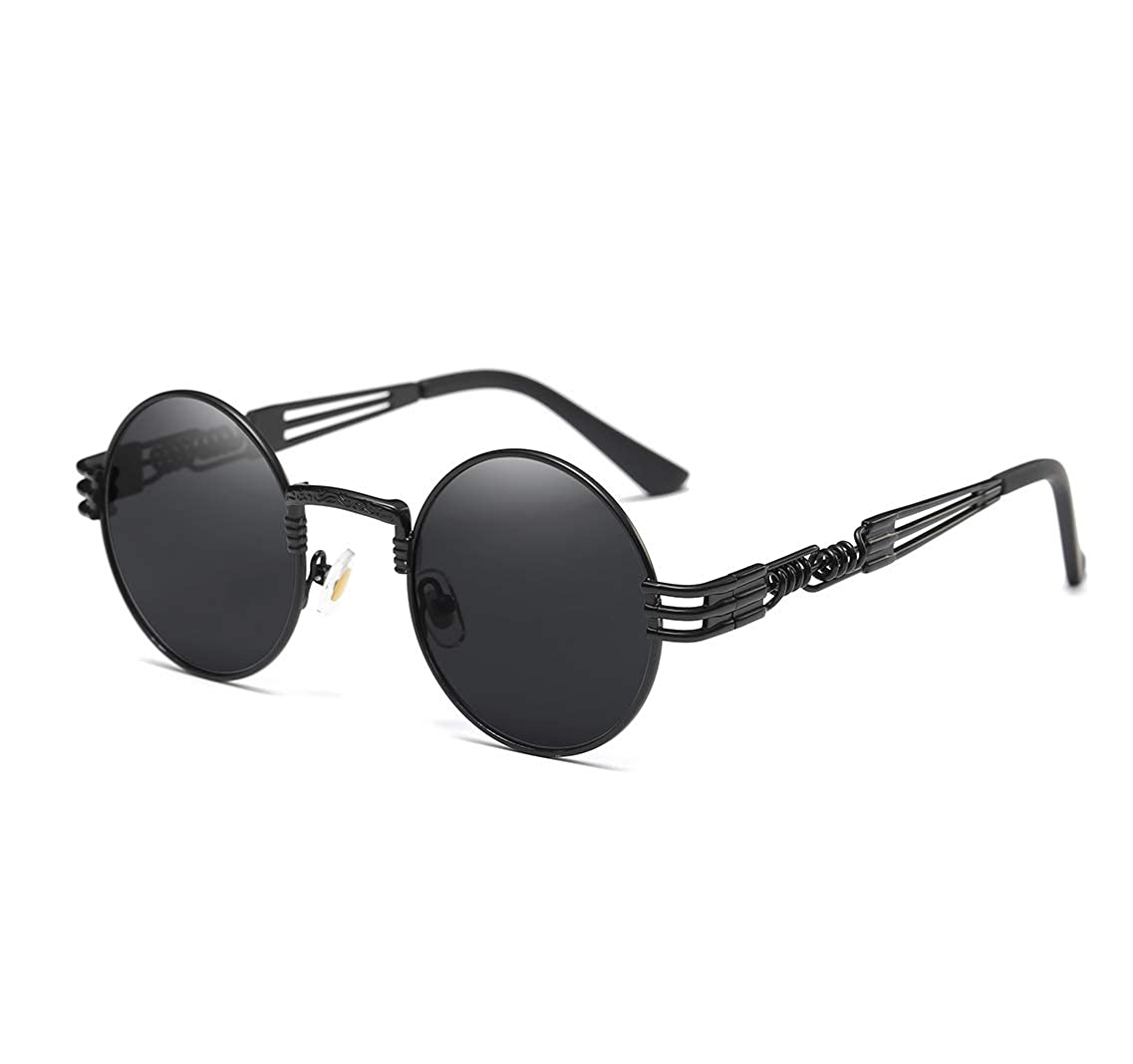3256c3c21d Amazon.com  GAMT John Lennon Glasses Quavo Steampunk Round Sunglasses  Circle Metal Frame Eyewear for Men and Women Black Frame Grey Lens  Shoes