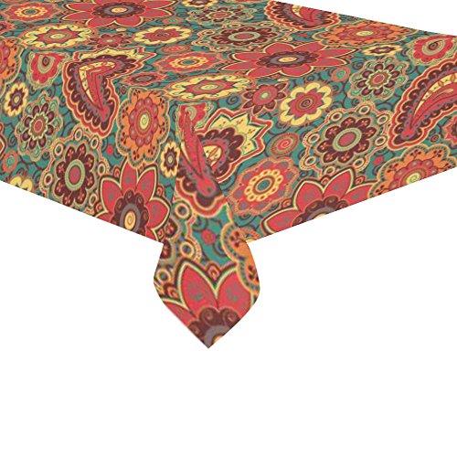 InterestPrint Home Decoration Indian Art Vintage Paisley Mandala Cotton Linen Tableclothes Sets 60 X 120 Inches - Retro Floral Flower Design Desk Sofa Table Cloth Cover for Wedding Party Decor