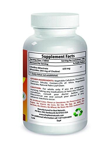 Best Naturals Choline 650 mg 180 Tablets