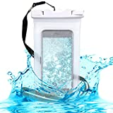 kwmobile Universal Waterproof Phone Holder Case - Outdoor Smartphone Cover Pouch with Armband and Strap in White Transparent