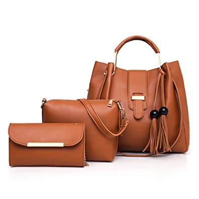 f5b672146739 Amazon.com  Hycurey PU Leather Tote Handbag Shoulder Bag Purse 3pcs Set  Totes for Women with Pockets Brown  Shoes