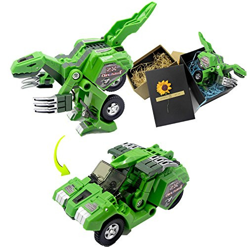 Dinosaur Transform Toy Change into Car Manual Transform A Toy of Two Games with Simulation of Sound Effects Glowing Eyes by Latburg by Magical Imaginary