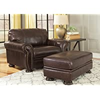 Banner Coffee Color Traditional Classics High-quality Leather Chair and a Half With Ottoman