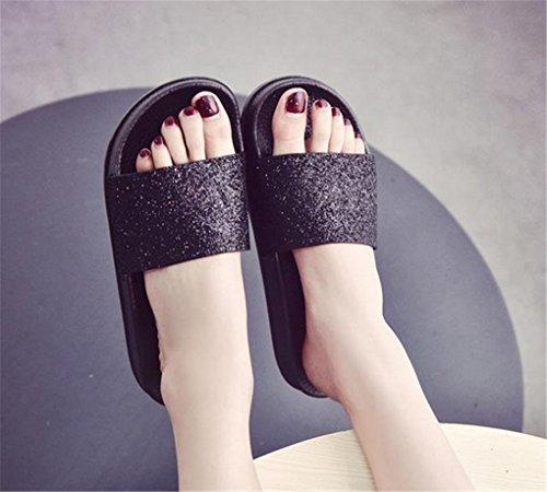 NEWZCERS Pantuflas planas de los cequis del color sólido de las mujeres del verano negro