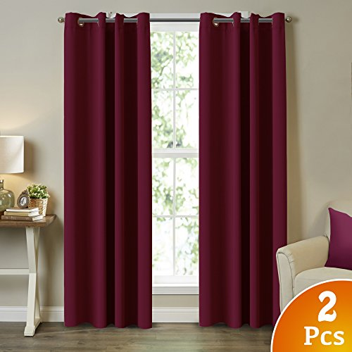 Turquoize Blackout Burgundy Curtains for Bedroom/Living Room 100% Privacy Panel Drapes, 52