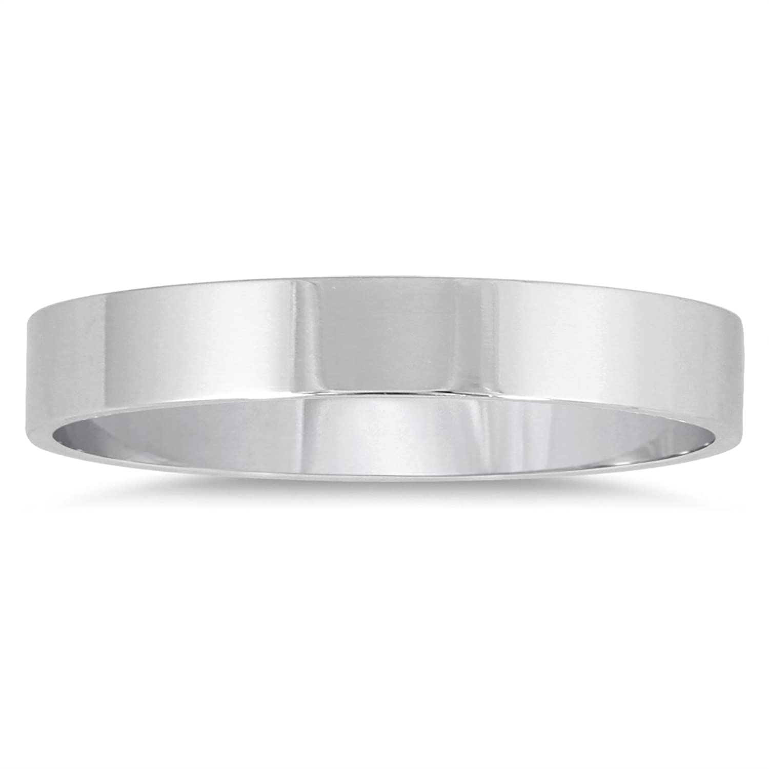 3mm Flat Comfort Fit Wedding Band in 14K White Gold